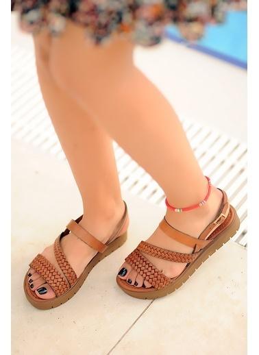 Pembe Potin A329-20 Kadın sandalet Taba